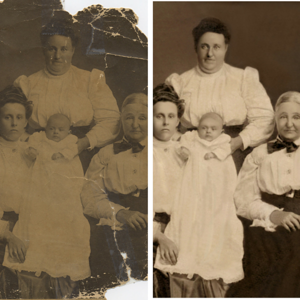 [Image: We can mend damaged photos to be like new!]