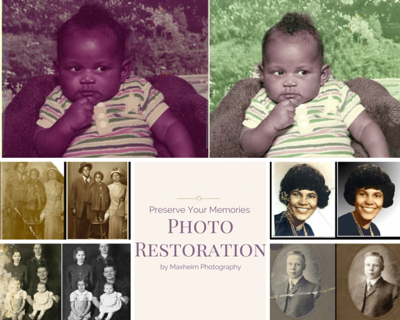 Photo restoration examples with Maxheim Photography